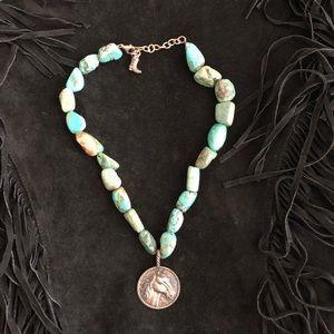 Barse Turquoise Necklace w/Horse Pendant